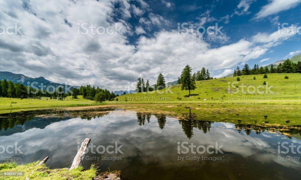 beautiful mountain lake in the Swiss Alps stock photo