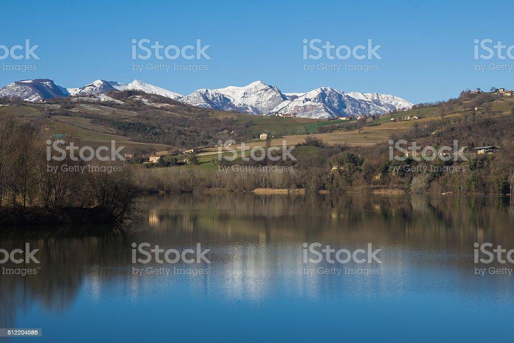 Beautiful mountain lake of San Ruffino stock photo