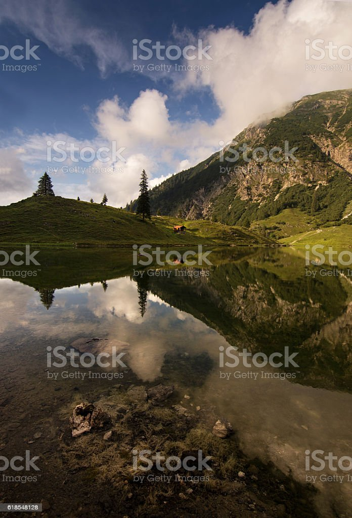 Beautiful mountain lake with clear water from Obersdorf Bavaria, Germany stock photo