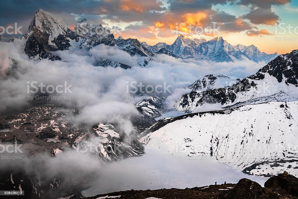 Beautiful mountain landscape at sunset. Himalayas. Nepal stock photo