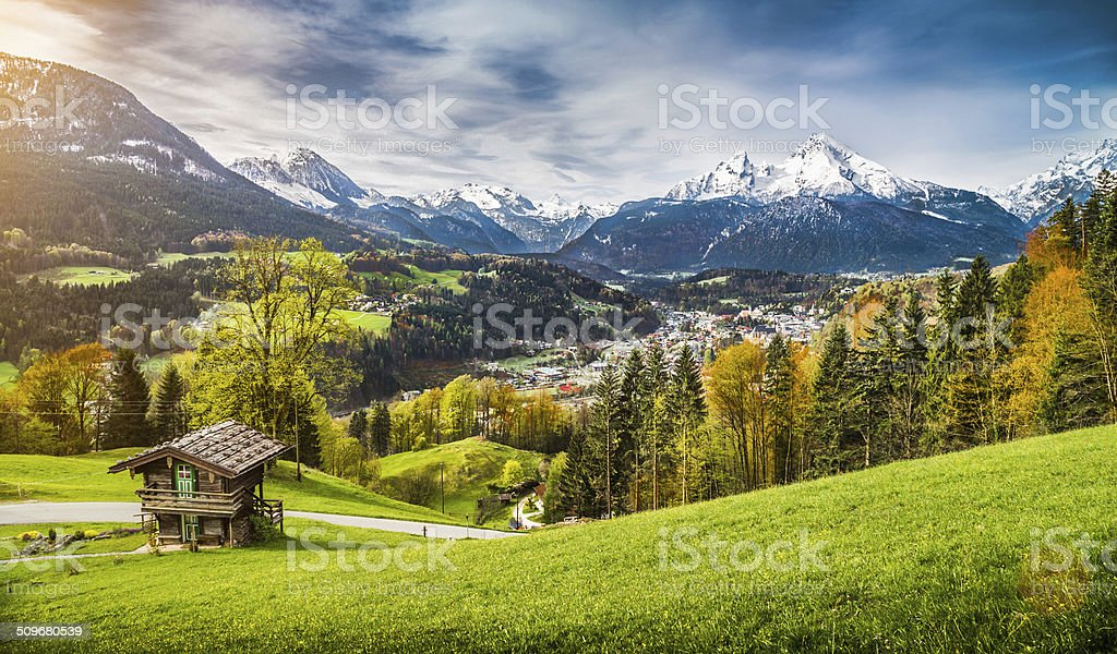 Beautiful mountain landscape in the Alps, Bavaria, Germany stock photo