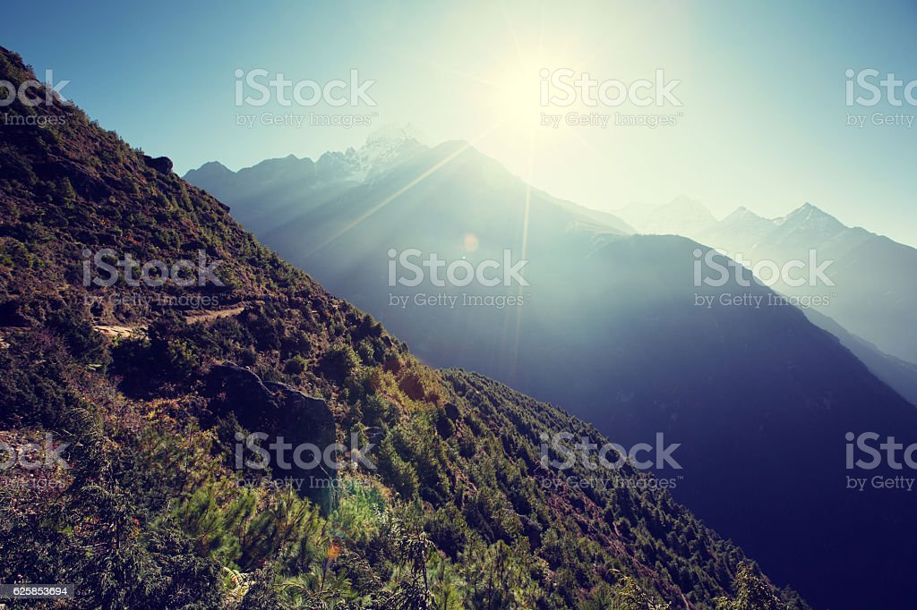 beautiful mountain landscape on the way to everest base camp. stock photo