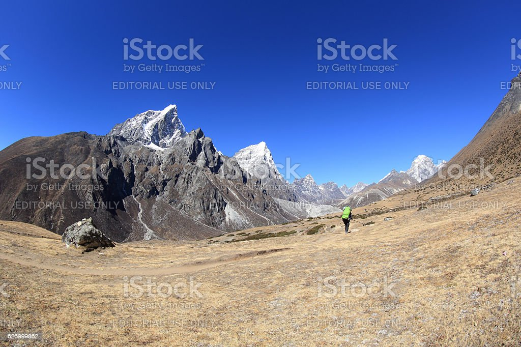 beautiful mountain landscape on the way to everest base camp stock photo