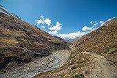 Beautiful mountain landscape with a suspension bridge