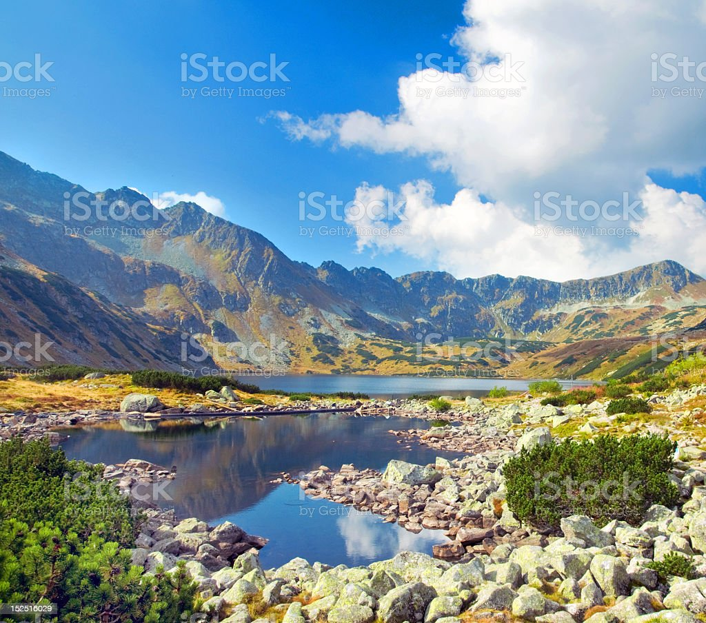 Beautiful mountain landscape with lake and vegetation stock photo