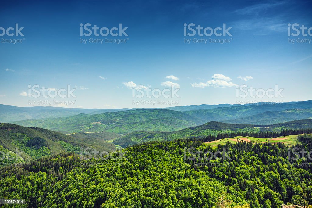 Beautiful mountain landscape, with mountain peaks covered with f stock photo