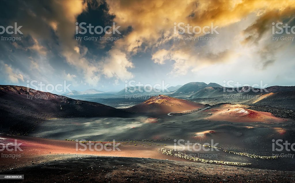 beautiful mountain landscape with volcanoes stock photo