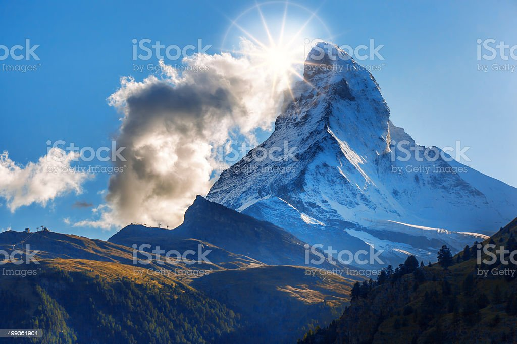 Beautiful mountain Matterhorn in Swiss Alps stock photo