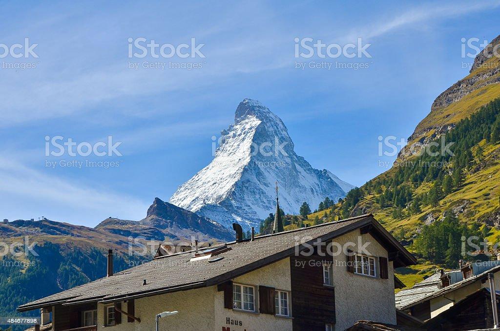 Beautiful mountain Matterhorn , Swiss Alps stock photo