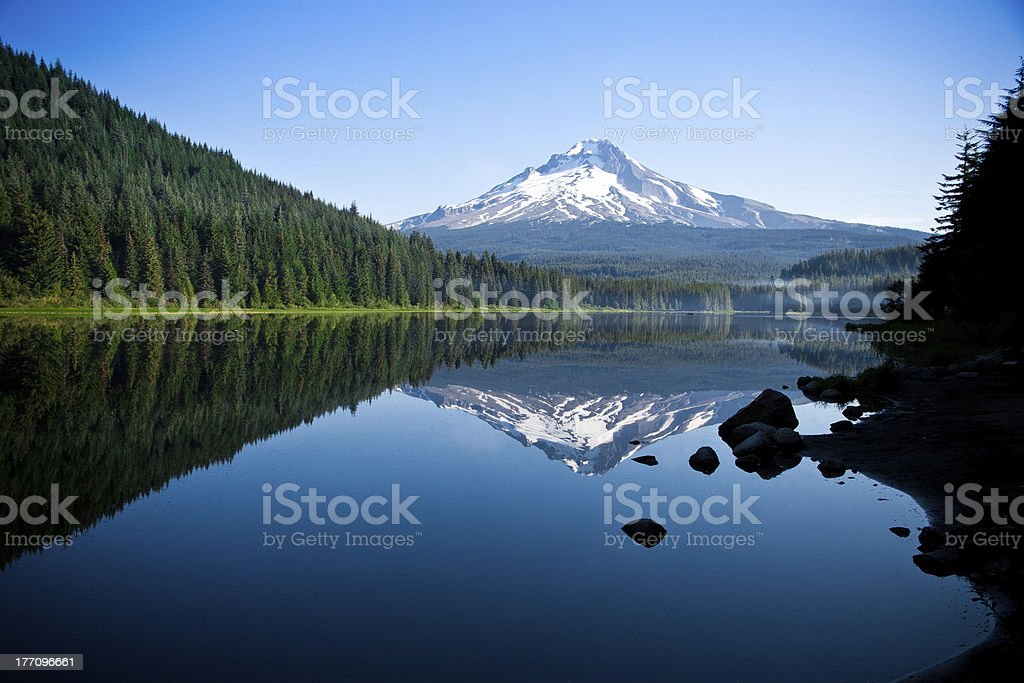 Beautiful Mountain Reflection in Lake stock photo