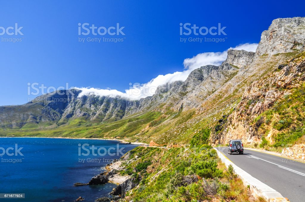 Beautiful mountain scenery along Route 44 in the Western Cape province of South Africa. Located in the eastern part of False Bay near Cape Town between Gordon's Bay and Pringle Bay. stock photo