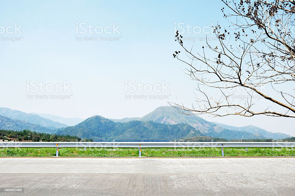 Beautiful mountain scenery - roadside view stock photo