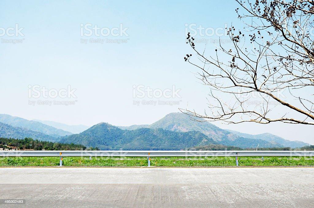 Beautiful mountain scenery - roadside view stock photo