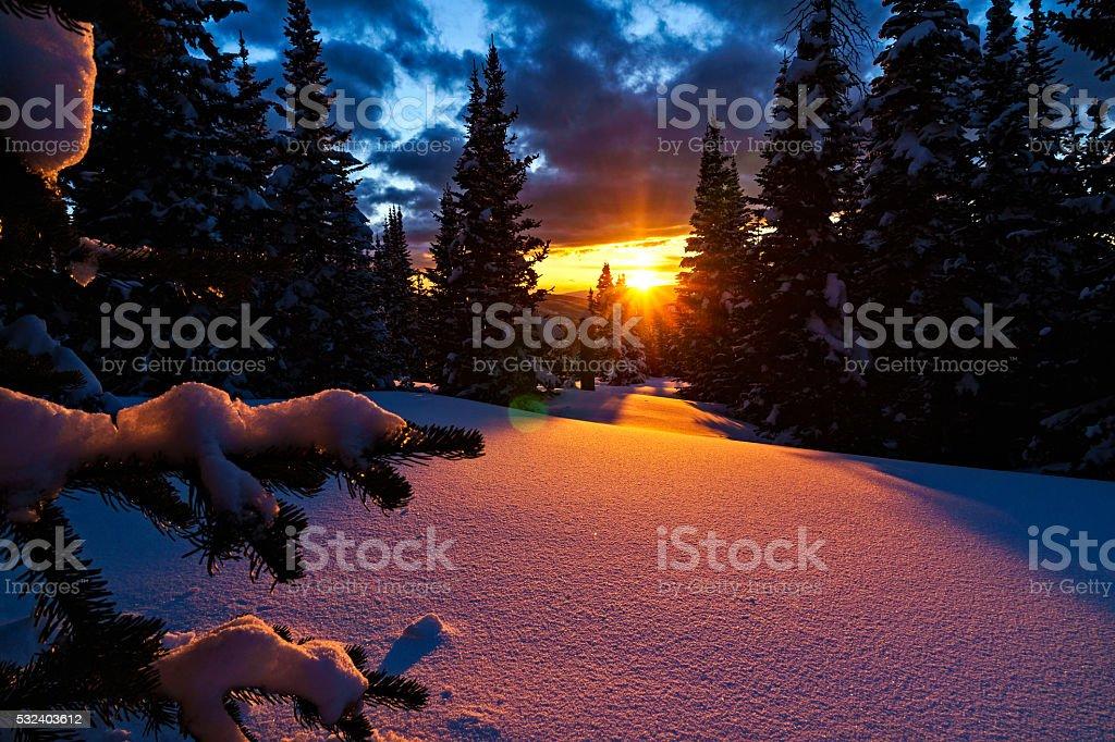 Beautiful Mountain Sunset - Fresh snow and pink alpenglow light at...