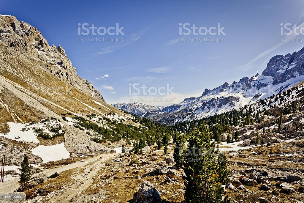 Beautiful Mountain Valley in the Dolomites stock photo