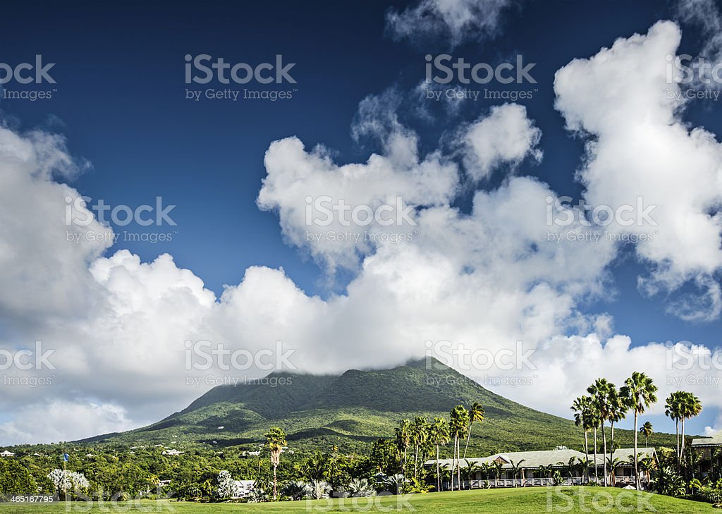 A beautiful mountain view in Nevis stock photo