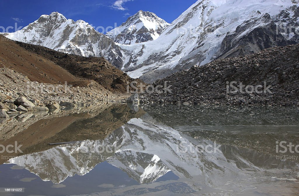 Beautiful mountain view reflected in water, Everest Region. royalty-free stock photo