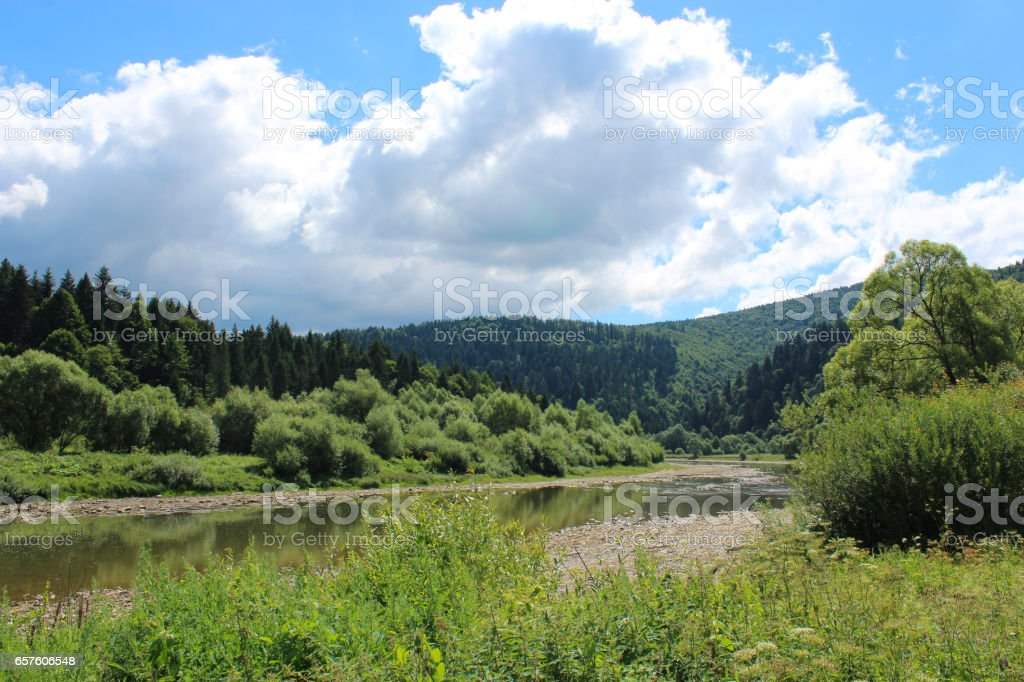 beautiful mountainous landscape with river stock photo