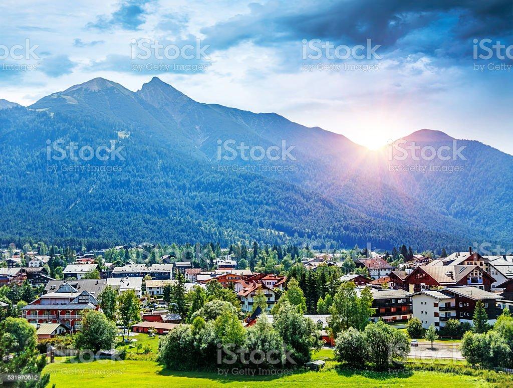 Beautiful mountainous village stock photo