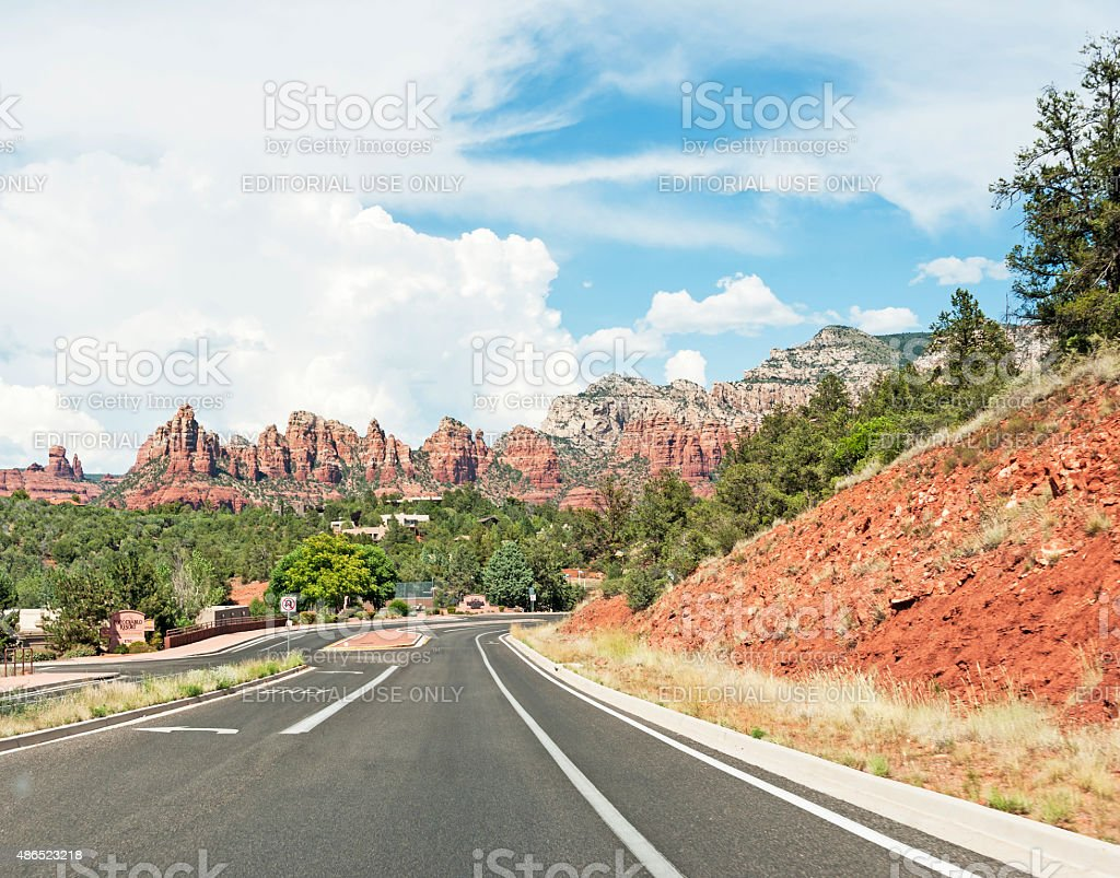 Beautiful Mountains and Clouds in Sedona Arizona stock photo