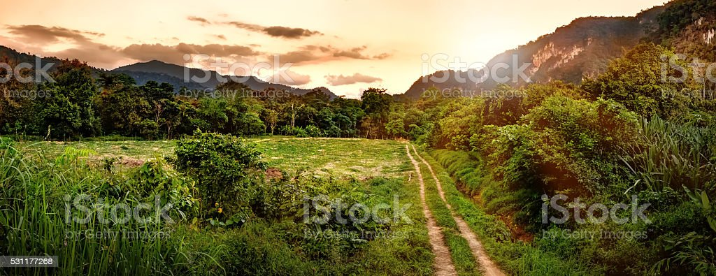 Beautiful mountains in sunset time, Khao Sok National Park, Thailand. stock photo