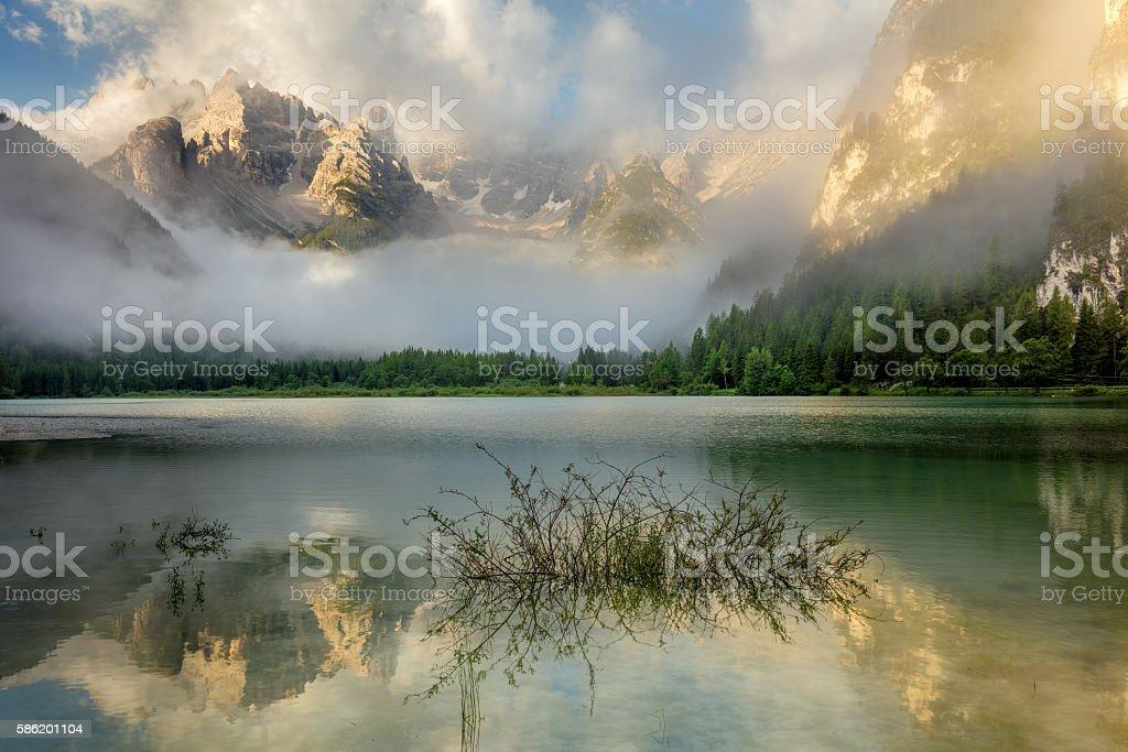 Beautiful Mountains Lake at the misty morning, nature landscape stock photo