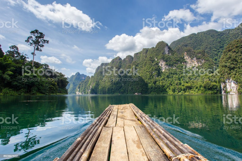 Beautiful mountains lake river sky and natural attractions in Ratchaprapha Dam at Khao Sok National Park, Surat Thani Province, Thailand stock photo