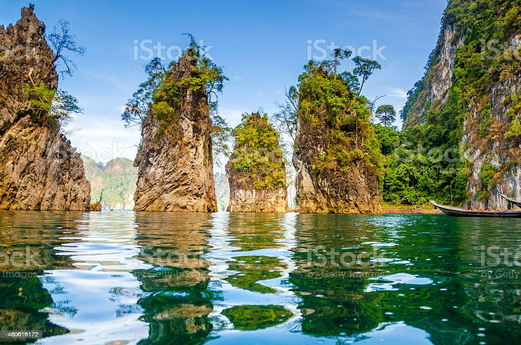 Beautiful mountains lake river sky and natural attractions stock photo