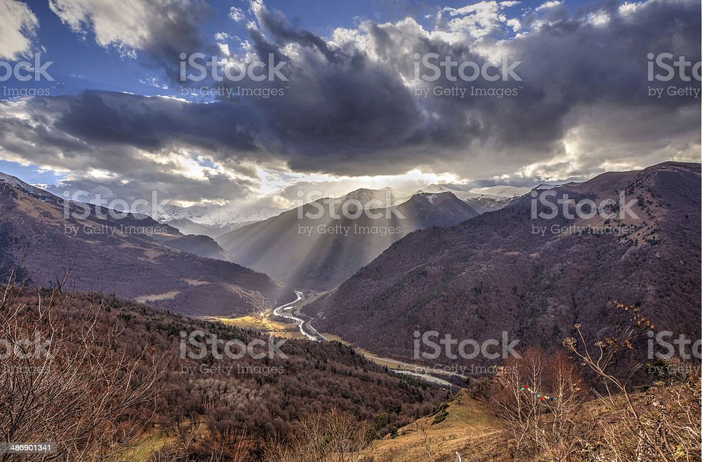 Beautiful mountains landscape and cloudy sky royalty-free stock photo