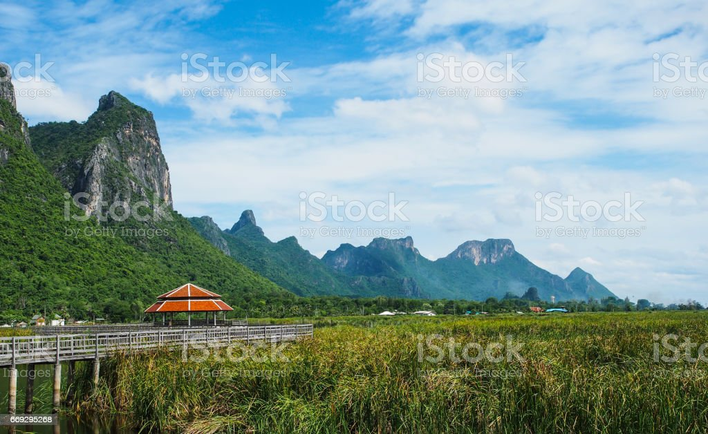 Beautiful mountains with the blue sky, Khao Sam Roi Yot, Prachuap Khiri Khan, Thailand. stock photo