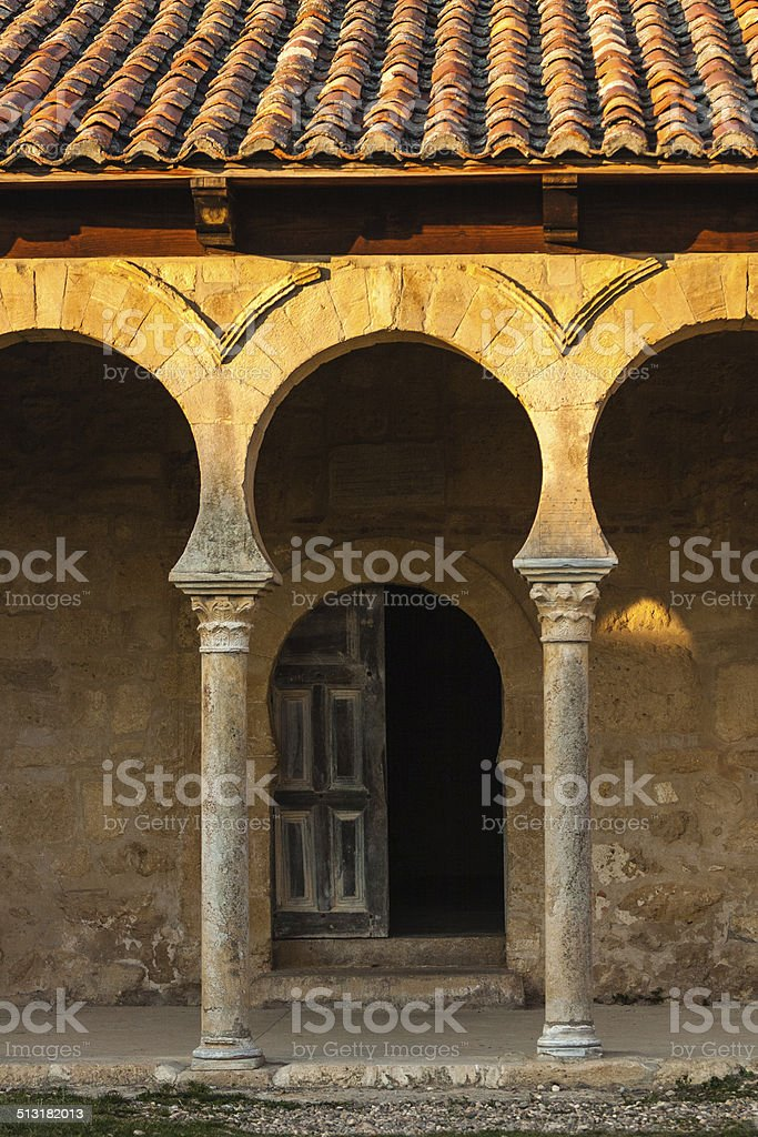Beautiful mozarabic archs in church entrance stock photo