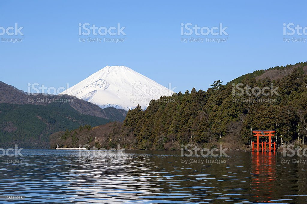 Beautiful Mt. Fuji from a Ashinoko lake stock photo