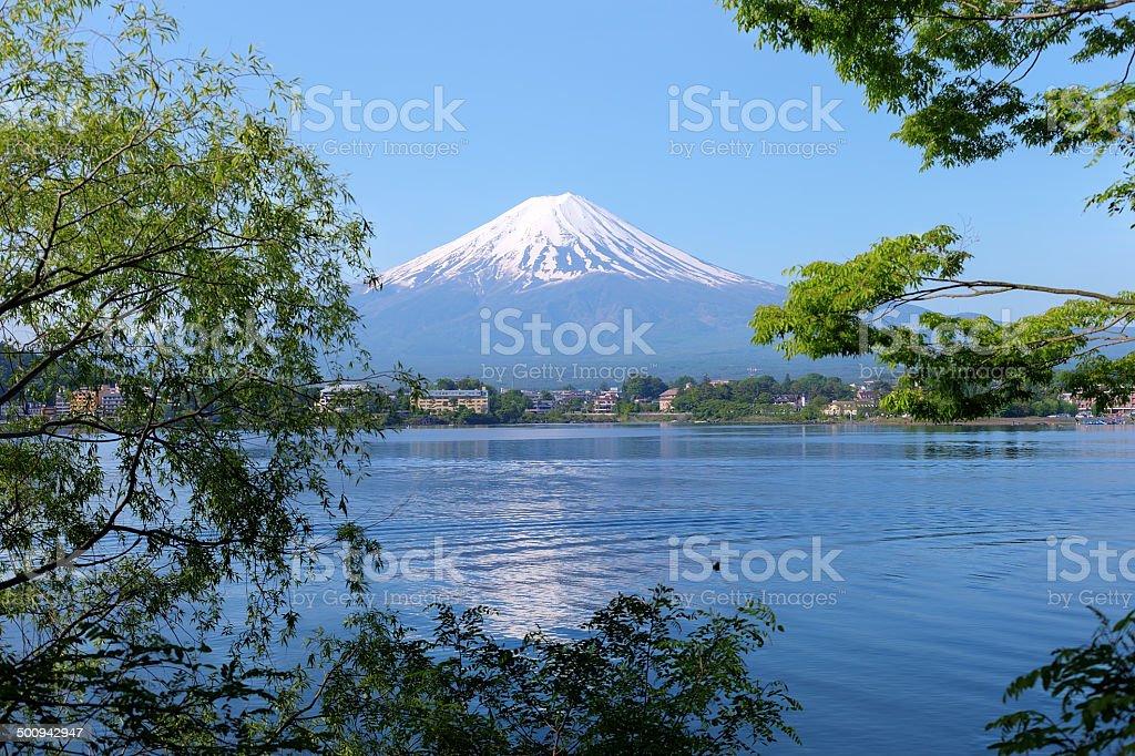 Beautiful Mt. Fuji from a Kawaguchiko lake stock photo