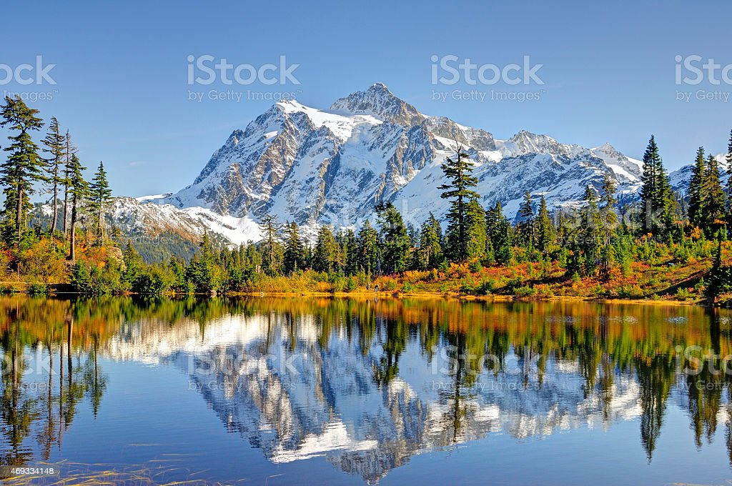 Beautiful Mt. Shuksan Reflecting on Picture Lake stock photo
