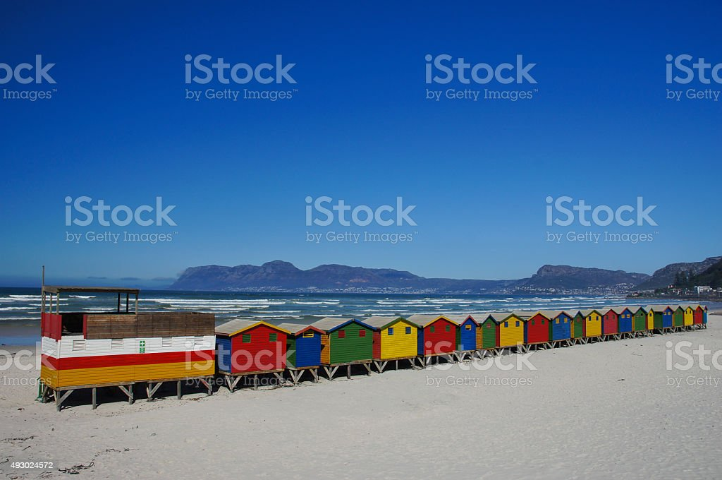 Beautiful Muizenberg beach Outside Cape Town South Africa stock photo