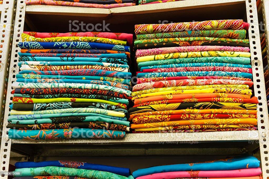 Beautiful Multi Colored Textile, Grand Bazaar,Srinagar,India stock photo