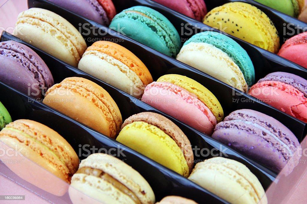 Beautiful Multicolored Macarons in Gift Box stock photo