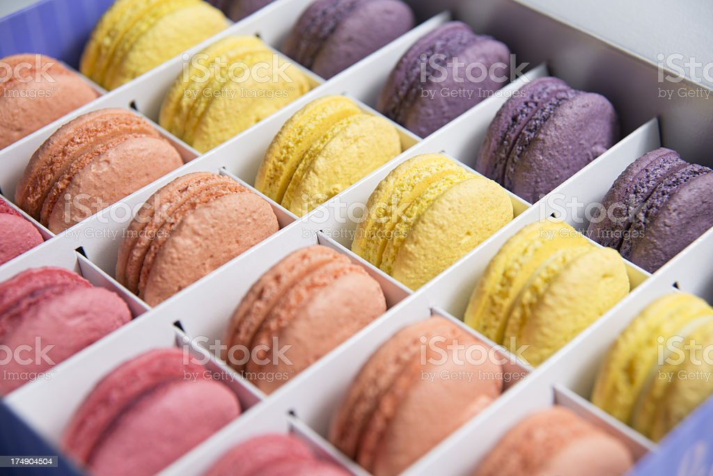 Beautiful Multicolored Macarons in Gift Box royalty-free stock photo