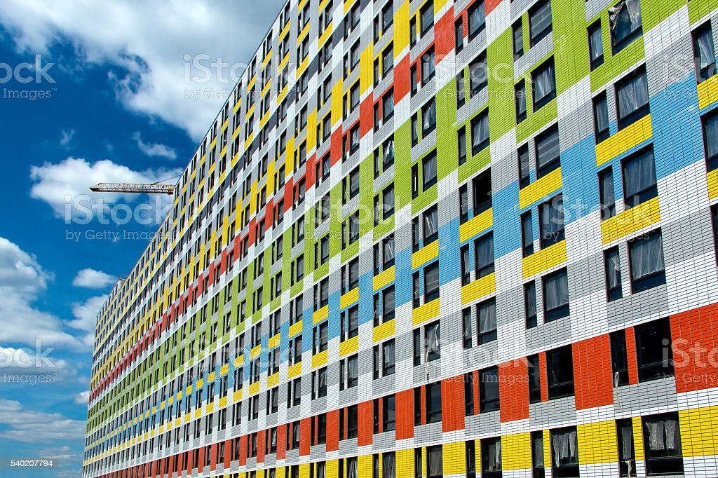 beautiful multicolored multi-storey house stock photo