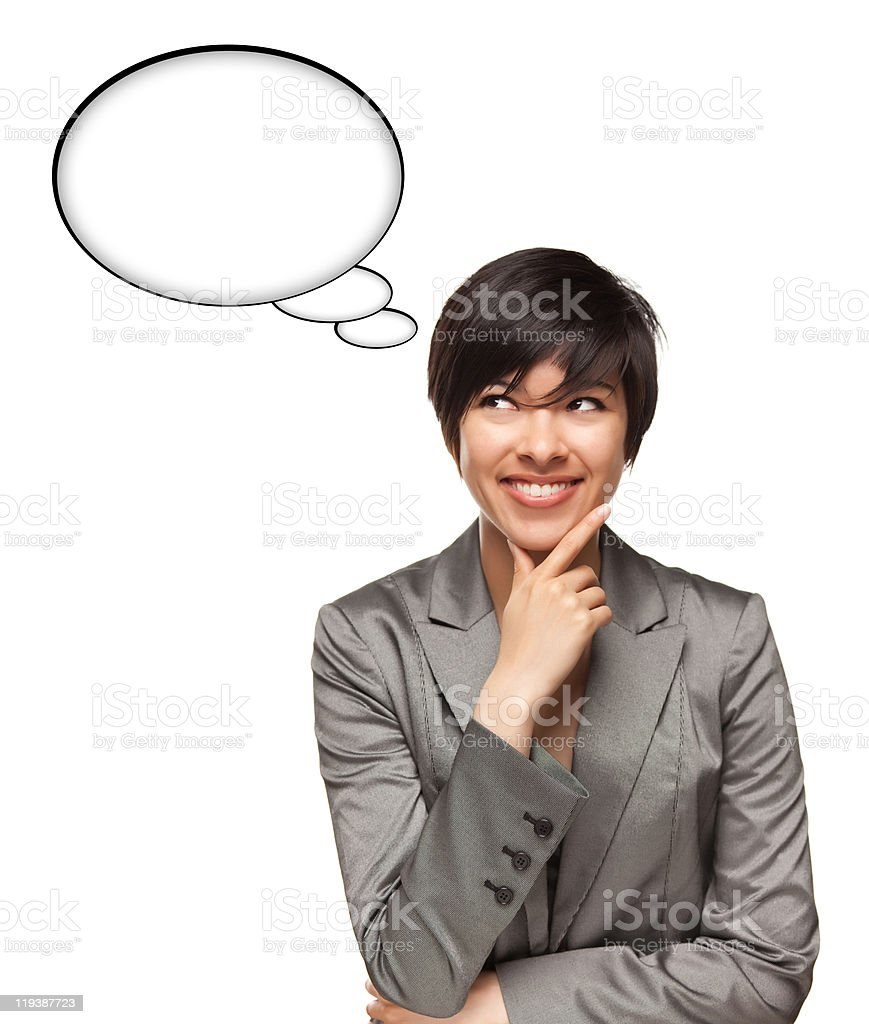 Beautiful Multiethnic Woman with Blank Thought Bubbles and Clipp stock photo