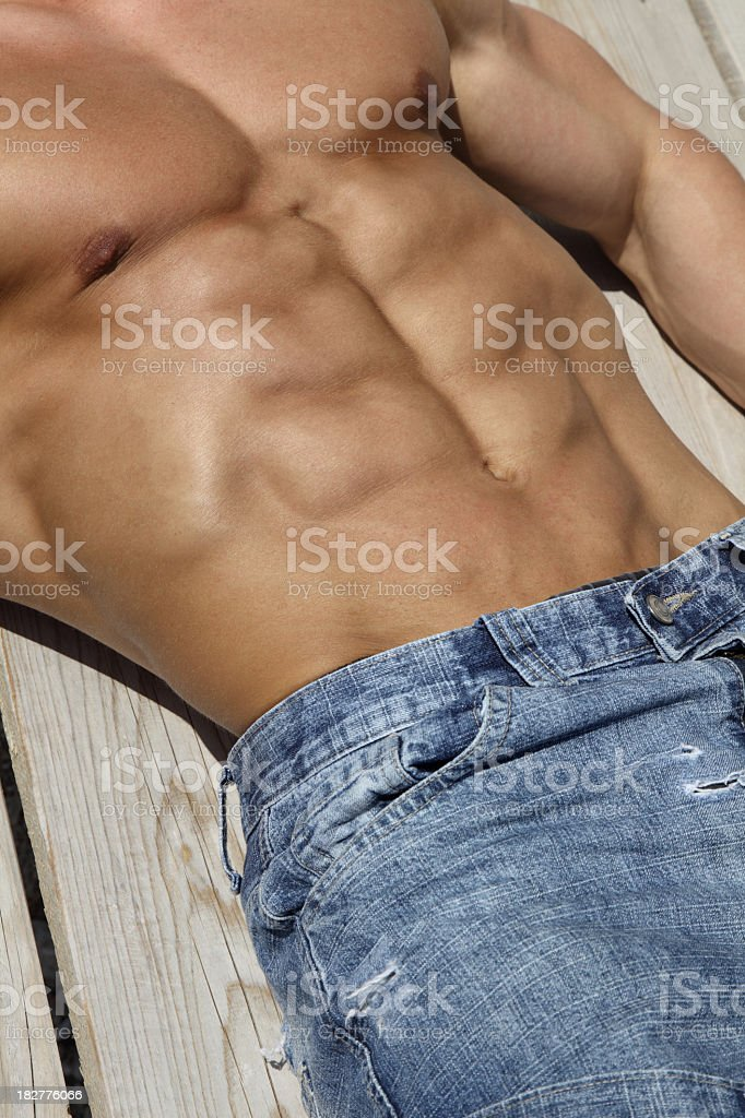Beautiful muscular male body detail royalty-free stock photo