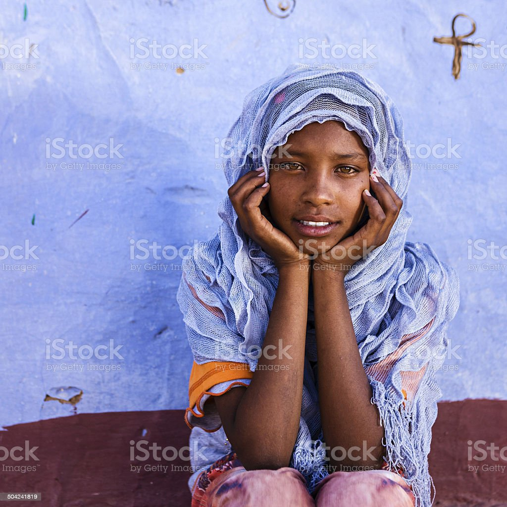 Beautiful Muslim girl in Southern Egypt stock photo