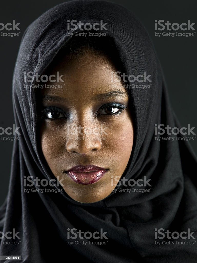 Beautiful muslim teenage girl stock photo