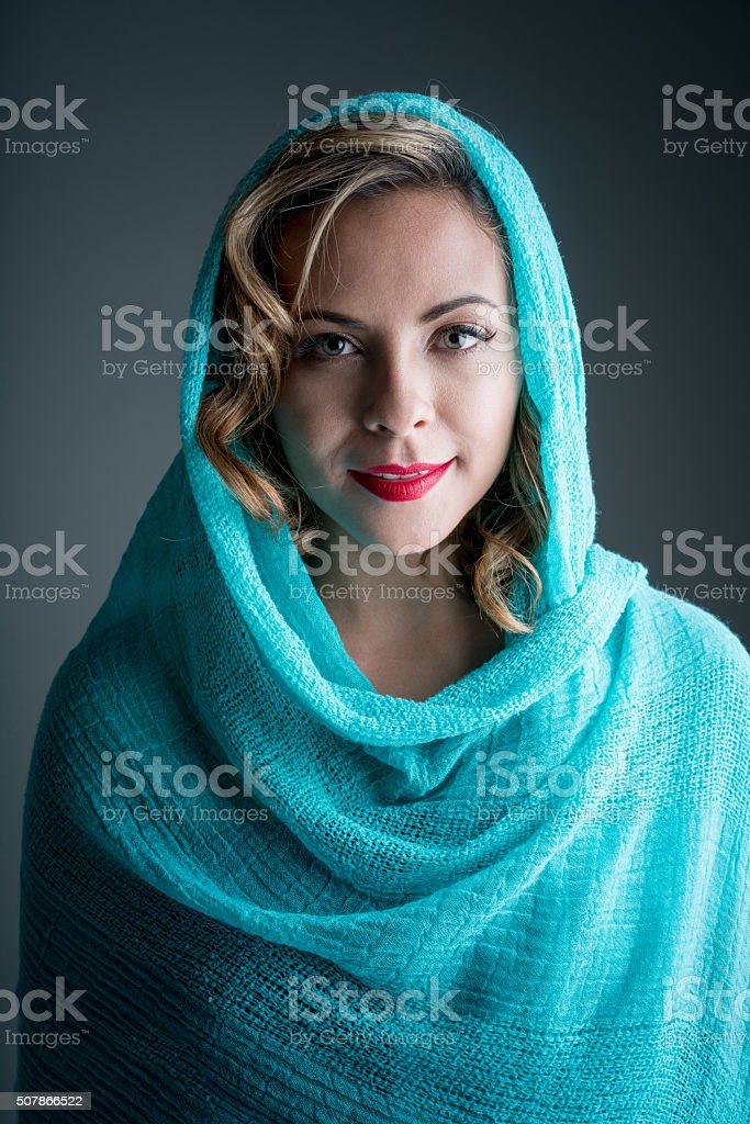 Beautiful Muslim woman wearing the hijab stock photo