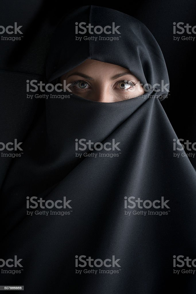 Beautiful Muslim woman wearing the hijab stock photo