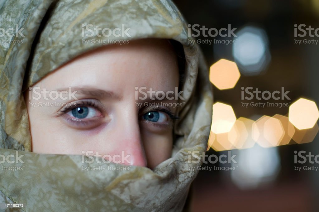 beautiful muslim woman with tuareg stock photo