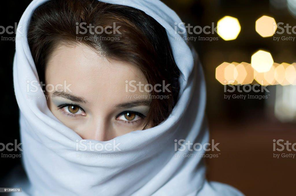 beautiful muslim woman with tuareg stock photo