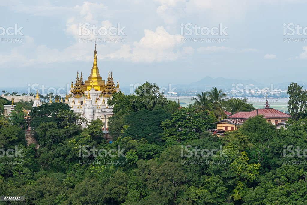Beautiful Myanmar style monastery at Sagaing city, Mandalay, Myanmar stock photo