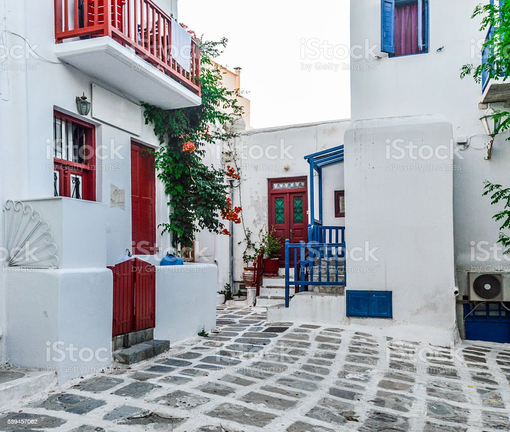 Beautiful Mykonos Town in the evening stock photo