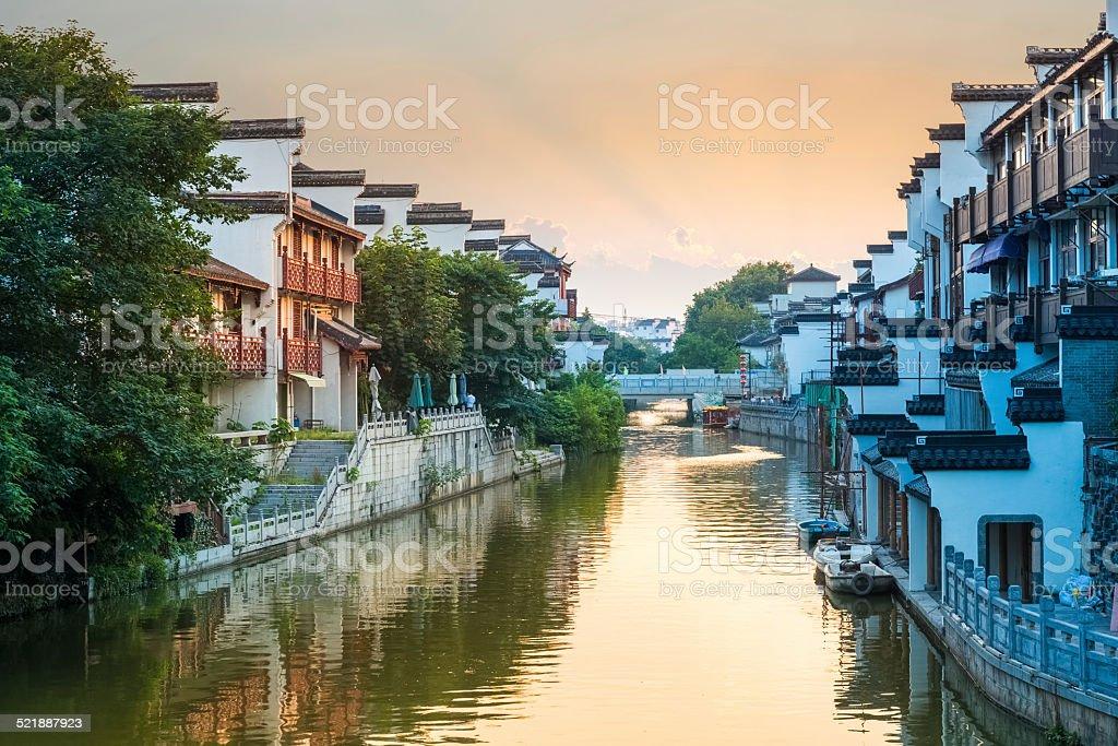 beautiful nanjing qinhuai river in sunset stock photo